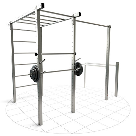 DIY fitness station with monkey bar made of stainless steel