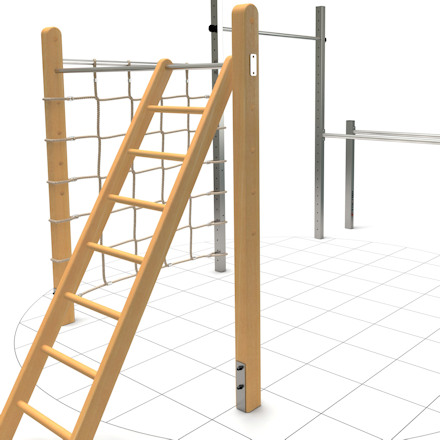 Double high bar with dip bars and two horizontal bars